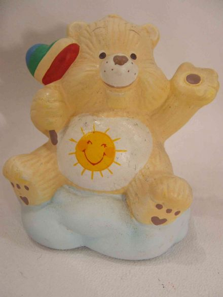 "VINTAGE 4"" FUNSHINE CARE BEAR CERAMIC (2)"